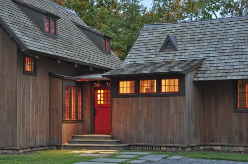 This for the cottage (brown trim, red windows) except with light brown cedar shake siding.
