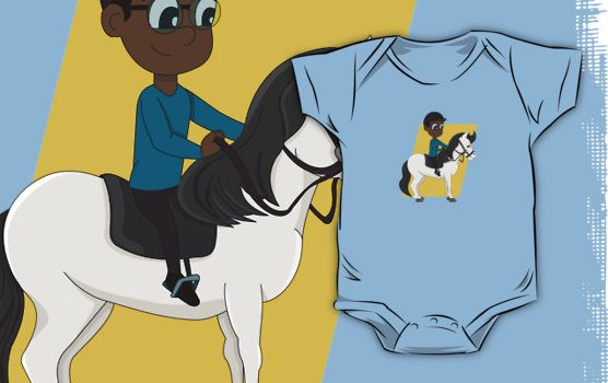 Boy riding a horse cartoon by Radka Kavalcova