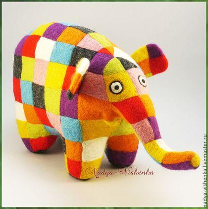 Игрушки животные, ручной работы. Ярмарка Мастеров - ручная работа. Купить слон Элмер игрушка войлочная (игрушка из войлока, игрушка валяная). Handmade.