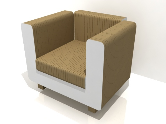 Armchair from cardboard and a thin sheet of mdf.