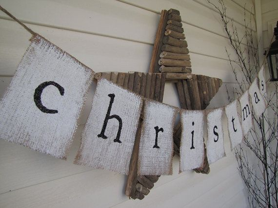 christmas Glittered Painted Burlap Banner by funkyshique on Etsy, $28.00