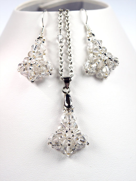 Reversed Tulip Beaded Swarovski Crystal Jewelry Earings