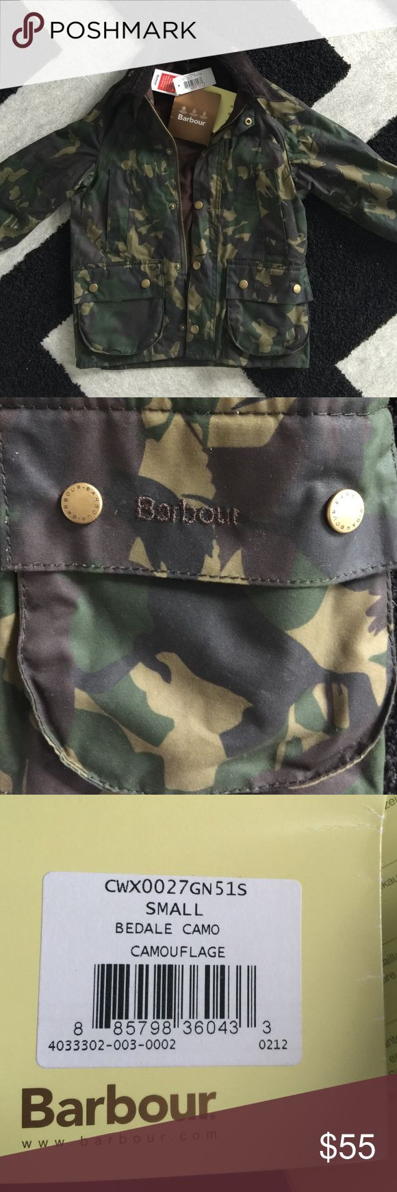 Barbour kid's camouflage coat- new with tags Kid's Barbour Bedale Camo jacket. New with tags. 6/7 size Small. Mix of greens Barbour Jackets & Coats Utility Jackets