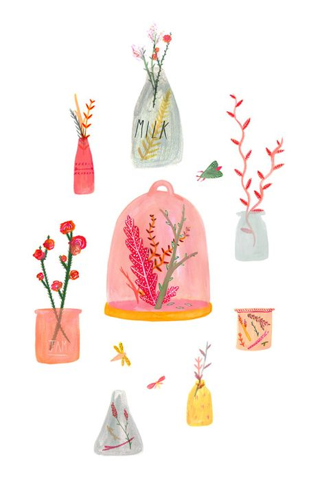 Alice Ferrow designs!!! Bebe'!!! Nice flower arrangements, particularly the one under the pink cloche!!!