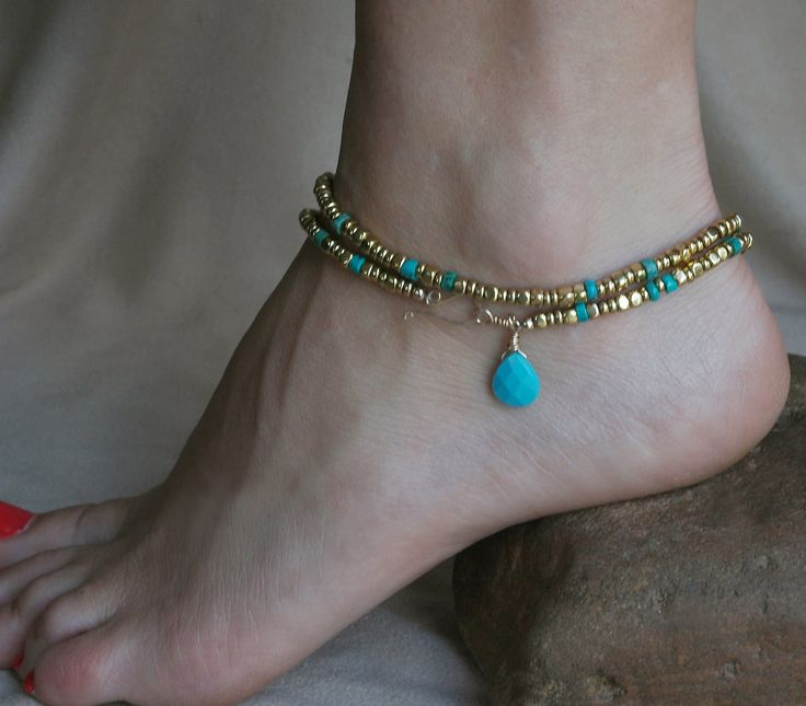 Bead Anklet, Genuine Turquoise, Beaded Necklace, Gold Anklet, Bracelet, Adjustable, Unique Necklace, Brass, Unique Anklet, Unique Gift. via Etsy.