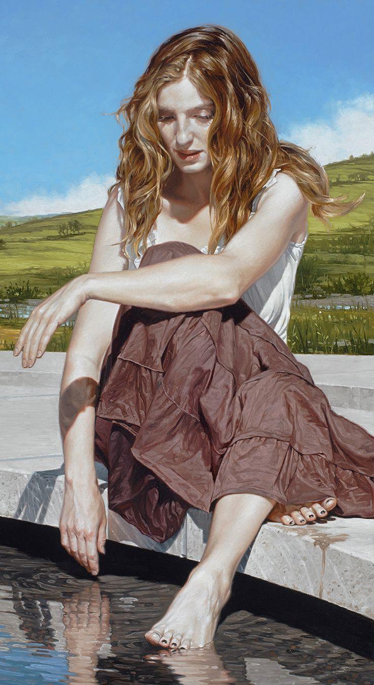 """Reflection in the Light of Day"" - Bryan Larsen (b. 1975), oil on linen, 2015 {figurative romantic realism art blonde female seated woman cropped painting #loveart #2good2btrue} bryanlarsen.com"