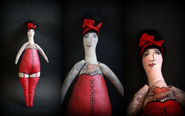 Tattoo girl / red dress #sewing #doll #dolls #tattoo #tattoogirl #dollart #painting #circus