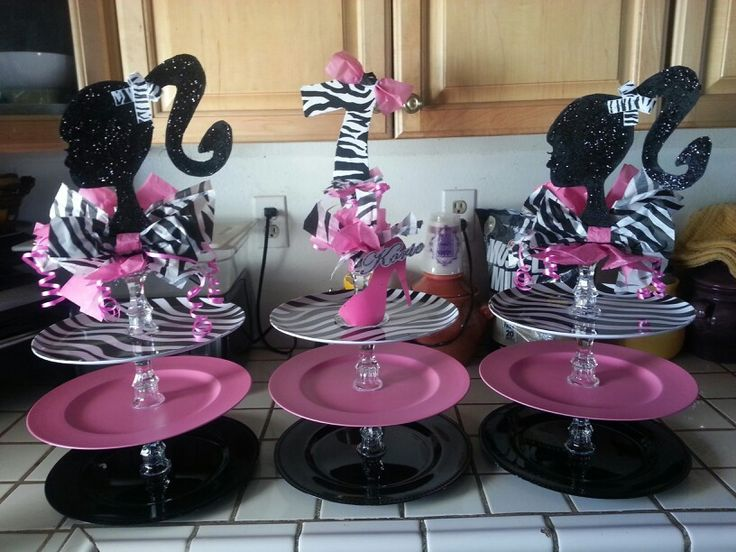 Barbie party cupcake stands