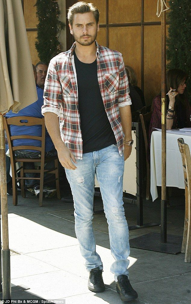 Dressed down: Scott Disick left Il Pastaio after lunch in Beverly Hills, California on Thursday