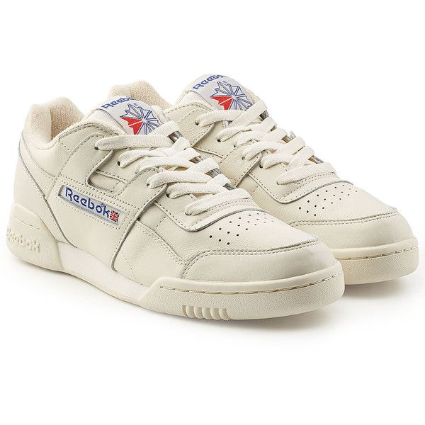 Reebok Workout Plus Vintage Sneakers (895 DKK) ❤ liked on Polyvore featuring shoes, sneakers, white, vintage footwear, reebok sneakers, reebok shoes, reebok footwear and vintage white shoes