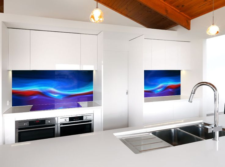 VR Art Glass from Visual Resource.  Printed glass splash backs, featuring (artwork) Fire & Ice # 1.