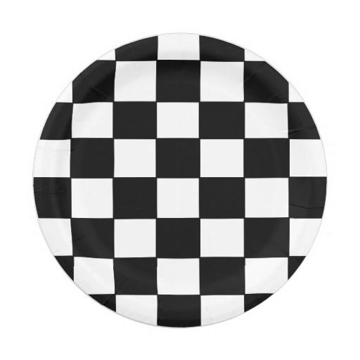 """""""Checkered Flag"""" Paper Plates for your next race car birthday party!"""