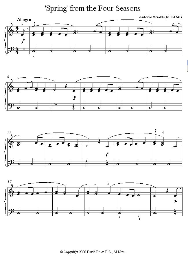 Vivaldi -  'Spring' from the Four Seasons sheet music for Piano