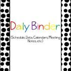 Daily binder section dividers:-daily binder (cover page)-important information-student information-IEP