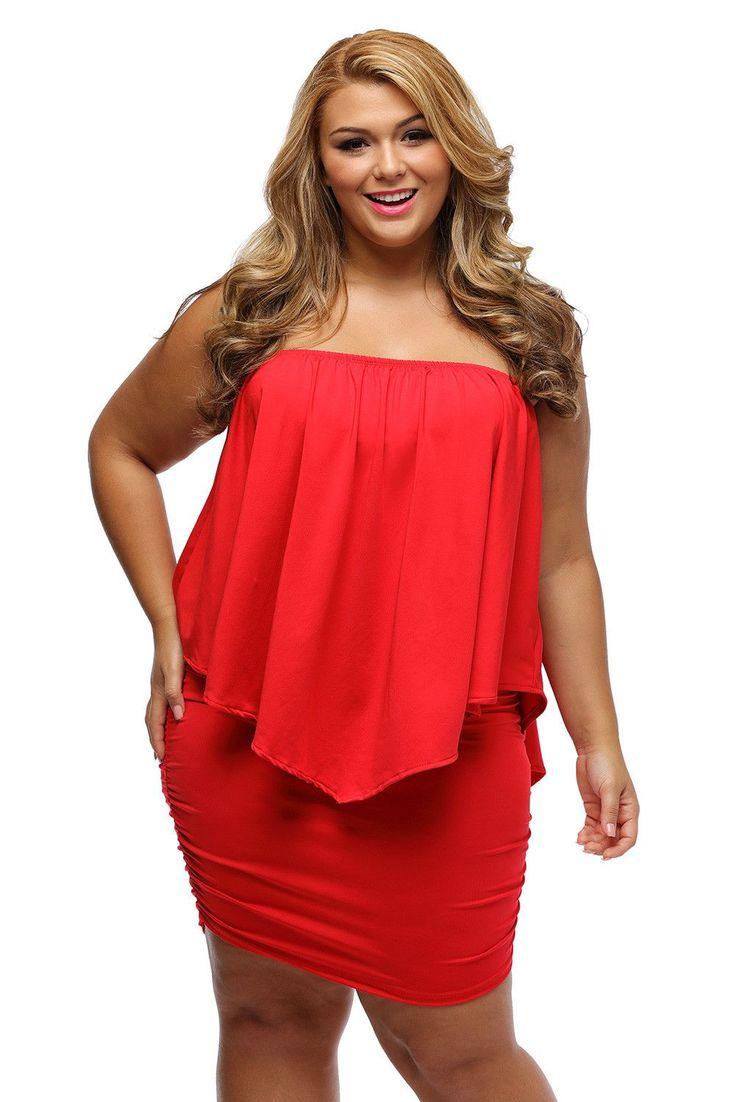 Robe Grande Taille Court Pour Rouge Collerette Sans Bretelles Pas Cher www.modebuy.com @Modebuy #Modebuy #Rouge #me #Grande