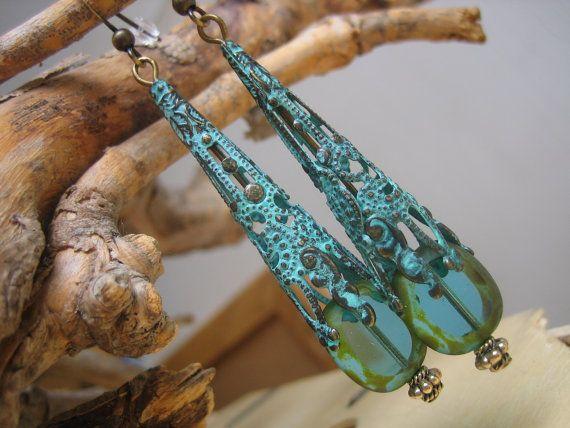 One-of-a-kind Handmade Rustic Aqua Glass and Verdigris Brass Dangle Earrings -$20.00