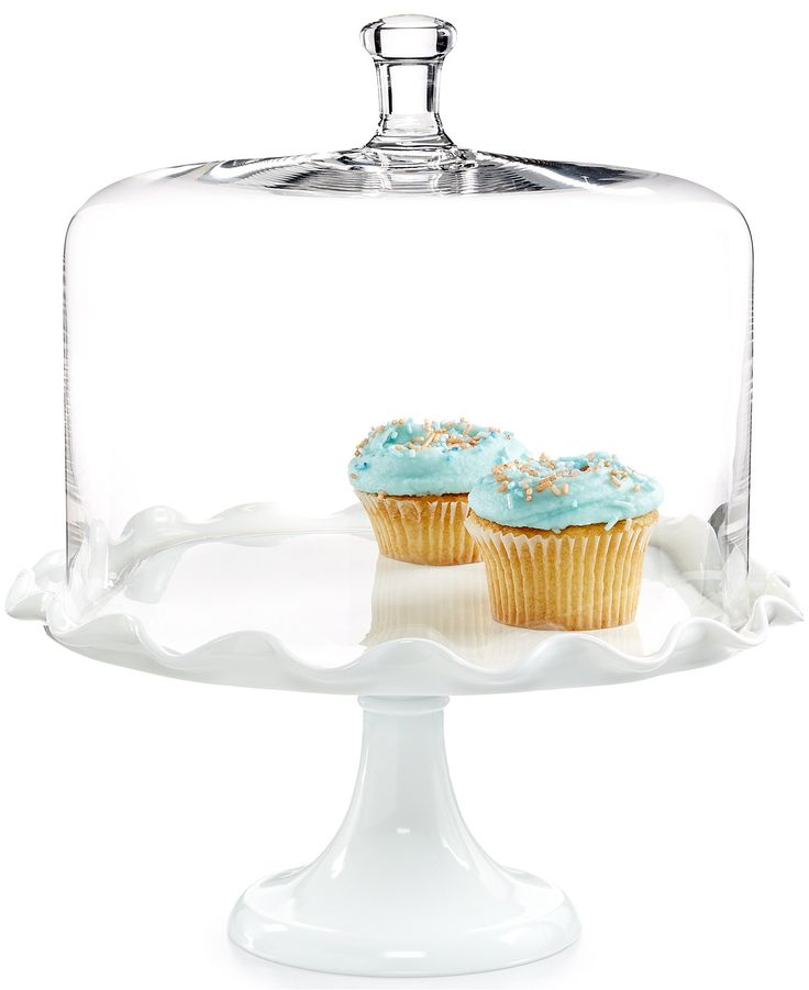 Martha Stewart Collection Milk Glass Cake Stand with Glass Dome - Serveware - Dining & Entertaining - Macy's