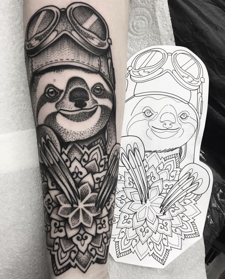 Pilot Sloth. Aviation tattoo. By Chris Browning or 'bintt' on instagram at Parliament Tattoo in London
