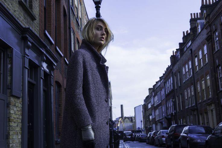 Charlotte Zimbeh's long, oversized wool buckley coat 'The Marianne' in the colour mauve grey. Made in London.