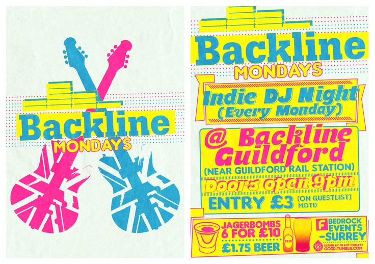 Backline Mondays - Back and front poster I did for a mate for Bedrock Promotions    Facebook - Backline Live Venue and Rehearsal Facility  Facebook - Bedrock Promotions