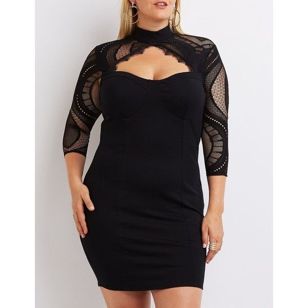 Charlotte Russe Mesh-Trim Bustier Dress ($40) ❤ liked on Polyvore featuring plus size women's fashion, plus size clothing, plus size dresses, black, sexy cocktail dresses, sexy mini dress, bodycon mini dress, plus size bodycon dresses and sexy plus size cocktail dresses