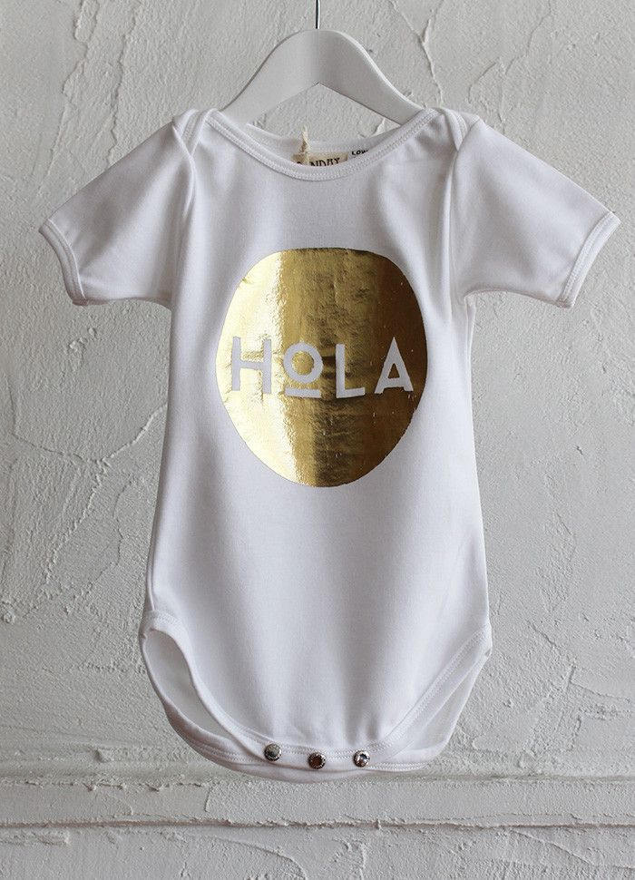 Limited Edition Onesie - GOLDEN Hola on white