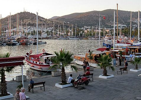 Bodrum Harbour view of boats, Turkey