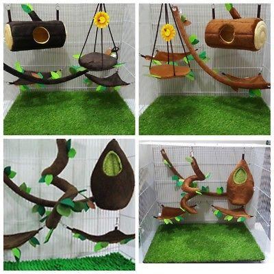 4-Sets-5Pcs-Sugar-Glider-Cage-Set-Horizontal-Log-Bed-2-Sets-Oval-Bed-2-Sets