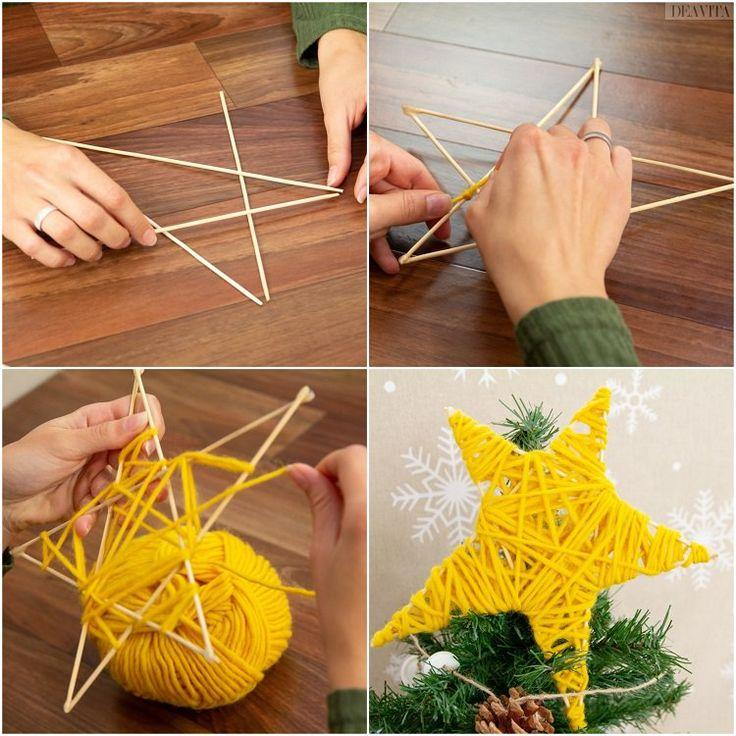 Stern aus Holzstäbchen basteln und mit Wollgarn …
