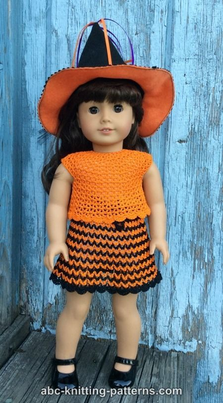 ABC Knitting Patterns - American Girl Doll Halloween Skirt and Top