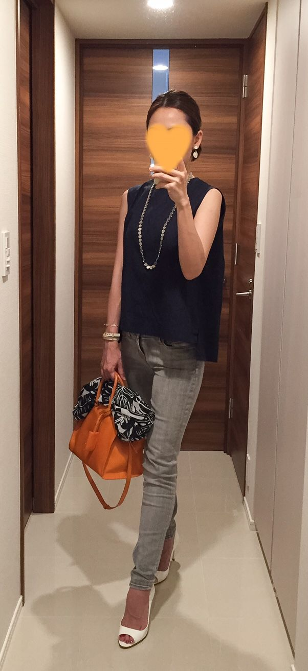 Navy top: martinique, Grey skinnies: J.BRAND, Scarf: ZARA, Orange bag: Saint Laurent, White sandals: miu miu