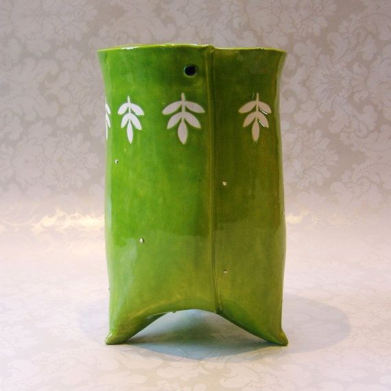 Utensil holder ceramic lime green white kitchen decor for Lime green kitchenware