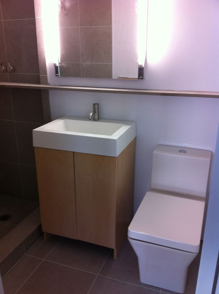 Kohler toilet and custom maple vanity with MTI manmade stone sink ...
