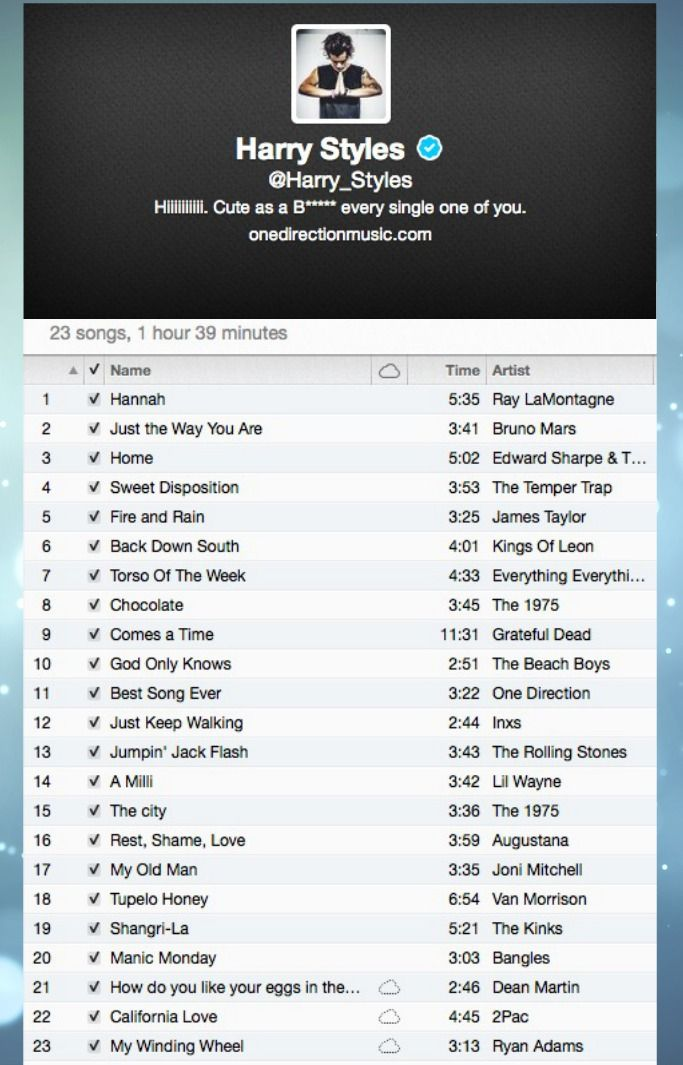 all of the songs harry has tweeted lyrics from.