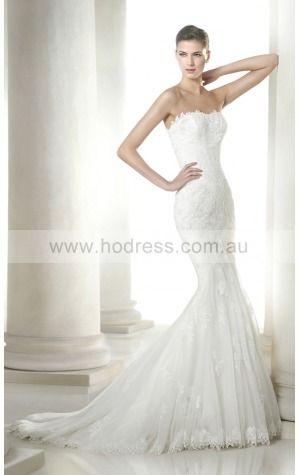 Backless Sweep Train Mermaid Natural Strapless Wedding Dresses hccf1001--Hodress