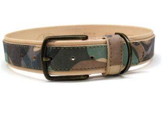 Hunde Lederhalsband Naturleder Military Nubukleder haltbares Halsband für große Hunde