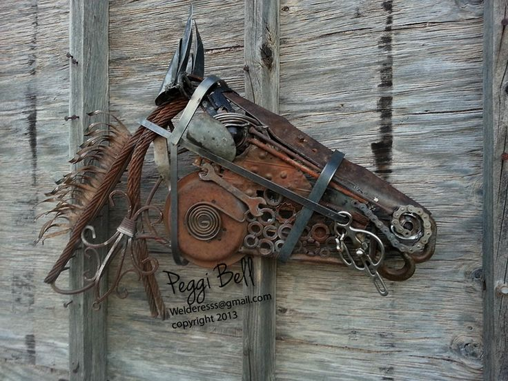 Metal Diva.  A driving horse.   Welded Art by Peggi Bell   Garden Art ~ Metal ~ Animals - welderesss@gmail.com - 2013. Made out of recycled-reclaimed-upcycled metal, including a broiler pan, metal floor vent, salvaged auto parts, bicycle chain, nuts, bolts, washers, pipe, cable, lawnmower blade, and more.