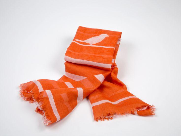 Oranje+sjaal+met+strepen+en+vogelmotief+van+Knaufmanufaktur+Berlin++op+DaWanda.com