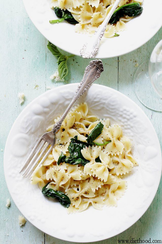 Garlic Butter Spinach and Pasta