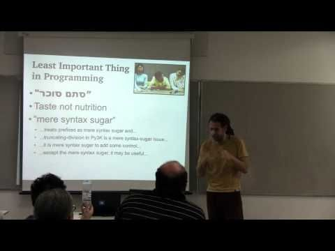 Perl Workshop in Israel, 2012 - Ran Eilam: Syntactic sugar (Eng) - WATCH VIDEO HERE -> http://bestcancer.solutions/perl-workshop-in-israel-2012-ran-eilam-syntactic-sugar-eng    *** sugar causes cancer ***   Syntactic Sugar Causes Cancer of the Semicolon Perl is rich in different ways for you to sugarize your code. TIMTOWTDI all the way: many ways to code it, and just as many to make it look sweet. This talk will start with verbose and tasteless code, full of chatter...