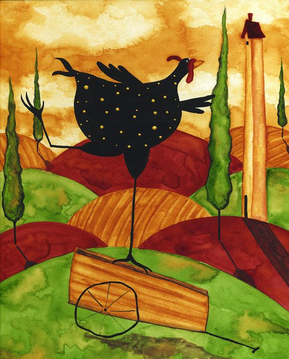 Hubbs Children Art Folk Prints Whimsical Funny Chicken. $25,00, via Etsy.