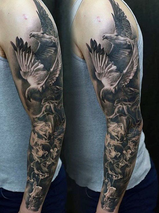 Doves With Burning Candle Unique Mens Sleeve Tattoo Creative