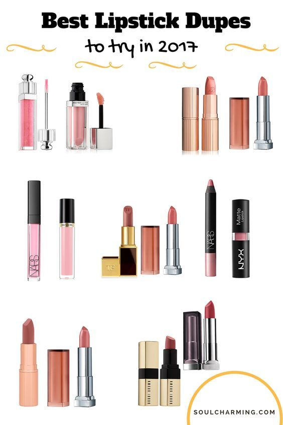 The best Drugstore Inexpensive Dupes for High-End Lipsticks and Lip-glosses to try in 2017. For more information check out my site soulcharming.com (Dupes makeup, drugstore dupes, Tom Ford Dupes, Charlotte Tilbury dupes)