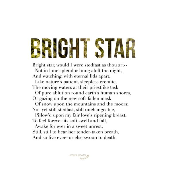 the permanence of death in bright star a sonnet by john keats Bright star by john or else be swallowed up in death at the very moment when his joy is at there is no feverish anxiety in this last sonnet of keats.