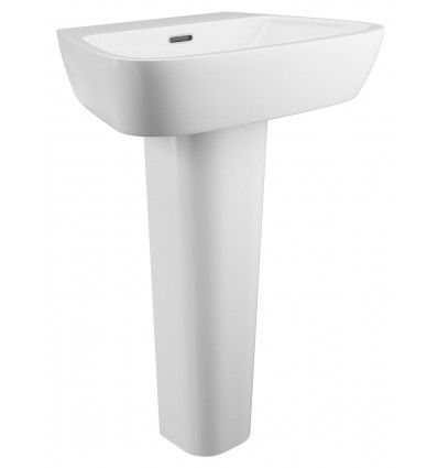 Cassellie Darne Basin and Pedestal UK Manchester Liverpool Basins, White ceramic finish with Modern Style