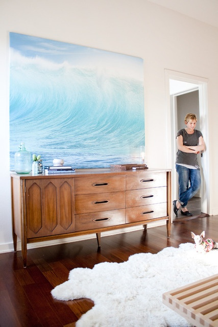 I love this life-sized wave print. I want to go home and paint one right now!