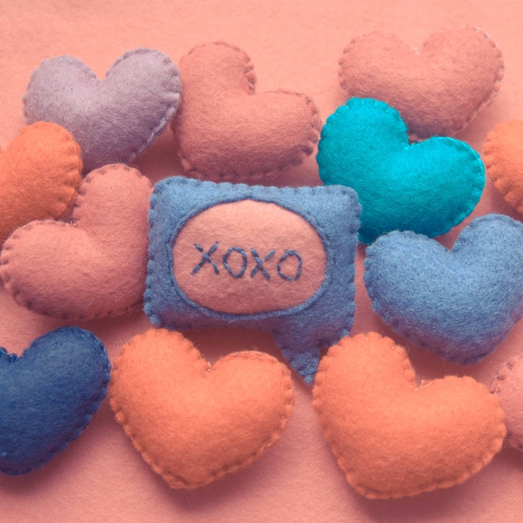 Handmade by Martha Stark tags: #handmade #marthastark #brooch made of #felt #decoration #rekodzielo #thread #heart #turquiose #violet #blue #pink #xoxo