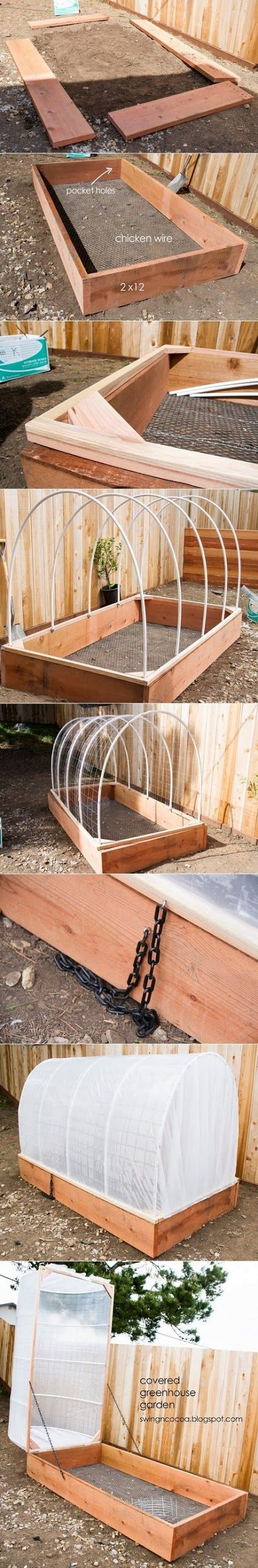 How To Building a Small Greenhouse atop a raised bed. I would not use treated or red wood because it interferes with the micro-culture you want to flourish in organic soil amendments.