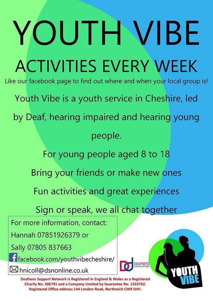#YouthVibe #Cheshire - A youth service set up by Deaf and hearing young people aged 8-18 with the support of Youth Workers.