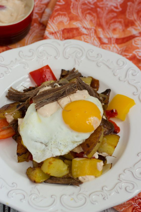 Beef Brisket Hash #SundaySupper from The Girl In The Little Red Kitchen